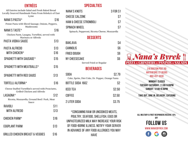 Updated Nana's Byrek Menu (1)